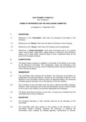Disclosure Committee terms of reference - Sep 2016